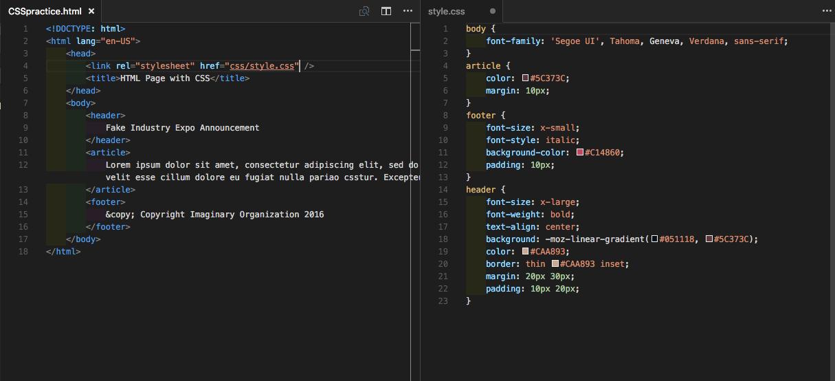 نمونه کد css