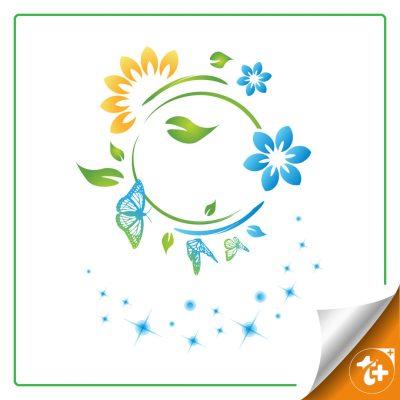 طرح لایه باز گل و برگ و پروانه