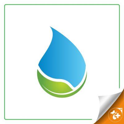 لوگو مینیمال قطره آب و برگ ترکیبی