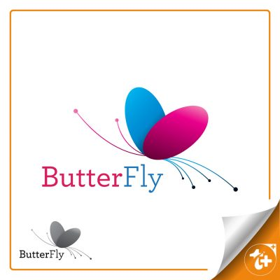 طرح لایه باز لوگو مینیمال پروانه